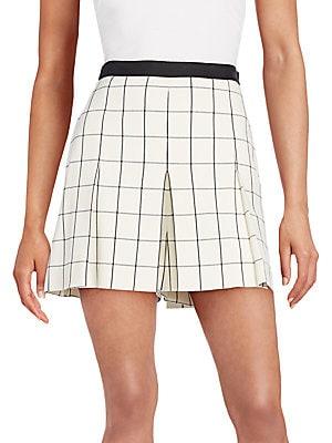 Pleated Windowpane Shorts