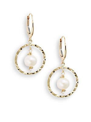 6.5-7MM Freshwater Potato Pearl & 14K Yellow Gold Hammered Hoop Drop Earrings