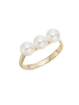 5.5-6MM Triple Freshwater Pearl & 14K Yellow Gold Ring