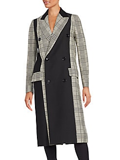 Colorblock Glen Plaid Double Breasted Coat