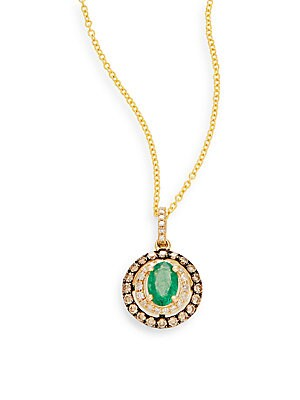 Emerald, White Diamond, Espresso Diamond & 14K Yellow Gold Pendant Necklace
