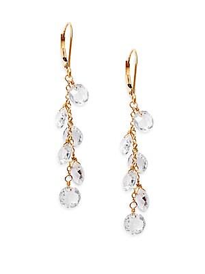 White Topaz & 14K Yellow Gold Chain Drop Earrings