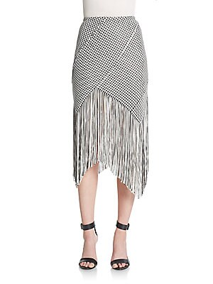 Fringed Houndstooth Skirt