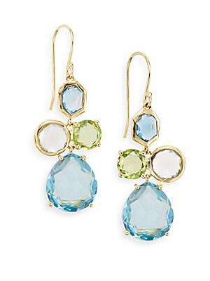 Multi Gemstone & 18K Yellow Gold Drop Earrings