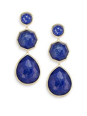 Rock Candy Lapis & 18K Yellow Gold Doublet Drop Earrings