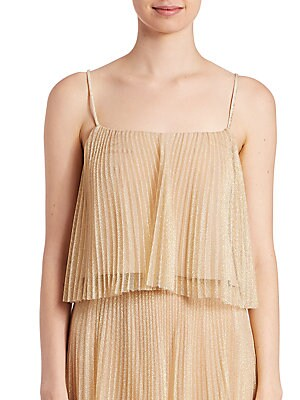 Metallic Tulle Pleated Cropped Top