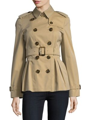 Pleated Hem Cotton Double-Breasted Coat Burberry