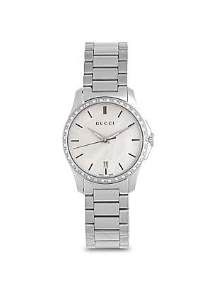 gucci female diamond motherofpearl stainless steel bracelet watch