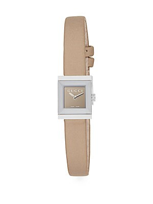 gucci female stainless steel leatherstrap watch