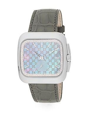 gucci female 45900 diamond alligatorstrap watch