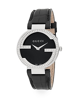 gucci female 188971 diamond stainless steel double g crocembossed leather watch