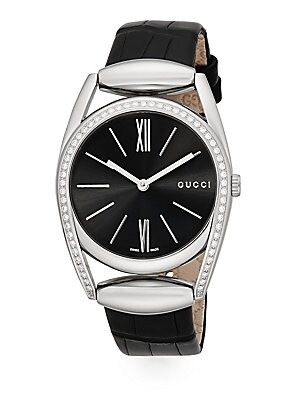 gucci female diamond stainless steel round crocembossed leather band watch