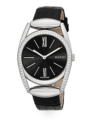 gucci female 188971 diamond stainless steel round crocembossed leather band watch