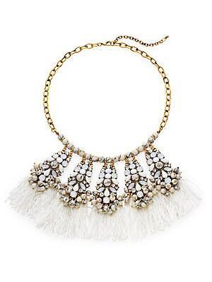 Beaded Howlite Fringe Station Necklace