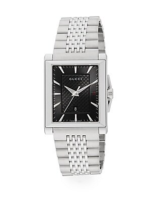 gucci male 258136 g timeless collection stainless steel rectangle watch