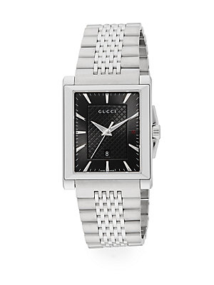 gucci male g timeless collection stainless steel rectangle watch