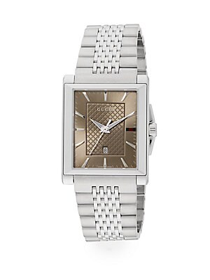 gucci male 260882 g timeless collection stainless steel rectangle watch