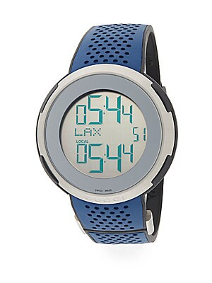 Digital Stainless Steel & Rubber Strap Watch