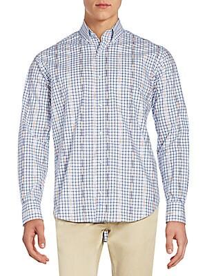 Regular-Fit Clover Check-Print Cotton Sportshirt