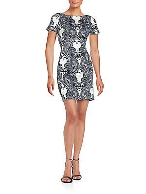 Baroque-Print Scuba Dress