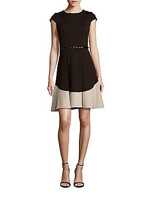 Colorblock Jewelneck Dress