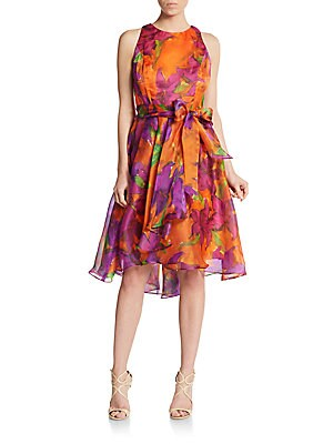 Floral Print Silk-Chiffon Fit-And-Flare Dress