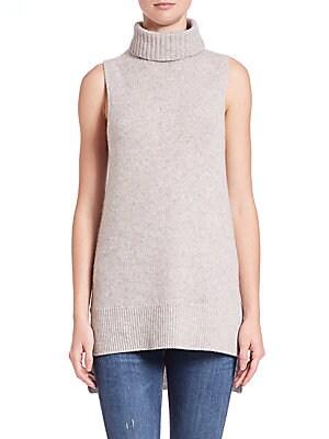 Sleeveless Cashmere Turtleneck Sweater