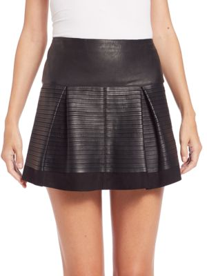 Leather Pleated Skirt Burberry