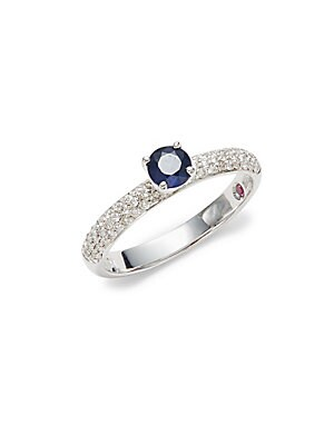 Click here for Diamond  Sapphire and 18K White Gold Ring prices