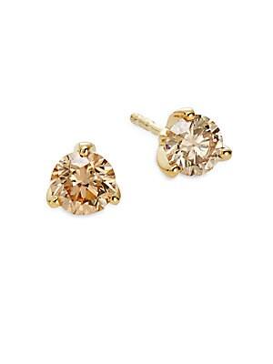 Diamond Collection 0.98 TCW Cognac Diamond & 18K Yellow Gold Stud Earrings