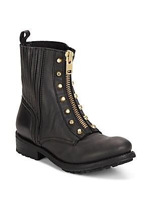 Rachel Leather Zip-Front Combat Boots