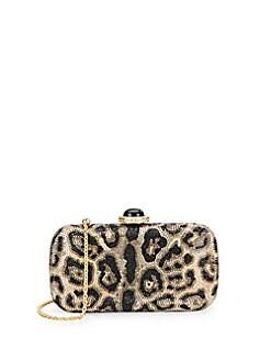 Leopard-Print Crystal Minaudiere