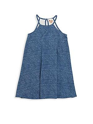 Big Girl's Printed Denim Dress