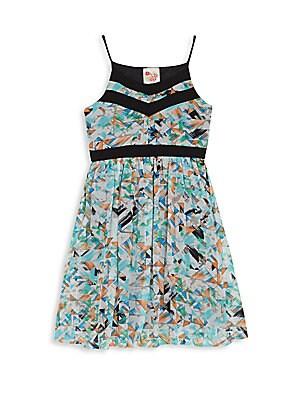 Girl's Contrast-Trim Geometric-Print Dress
