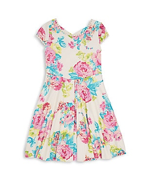 Girl's Floral-Print Cap-Sleeves Dress