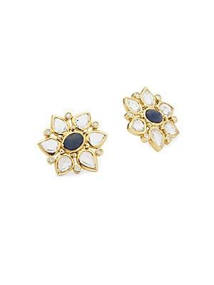 18K Yellow Gold Ottoman Cluster Earrings