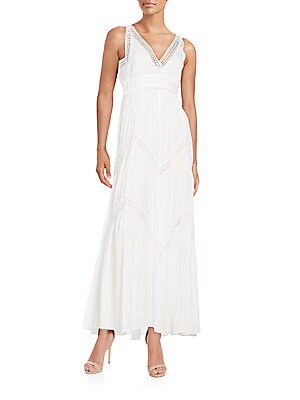 Lace-Trimmed Gauze Maxi Dress