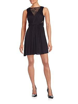 Dark Seduction Lace-Paneled Gathered Dress