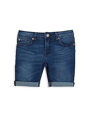Girl's Fold-Cuff Denim Shorts