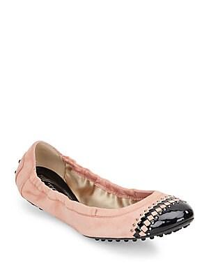 Embellished Suede Ballet Flats