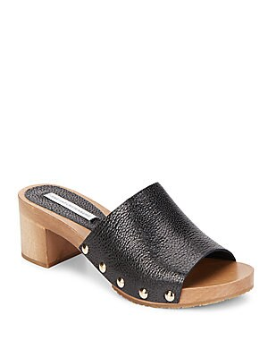 Manning Leather Block-Heel Mules