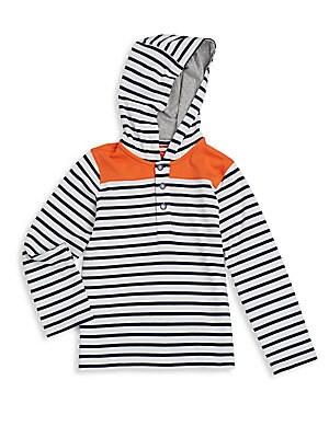 Little Boy's Striped Henley Hoodie