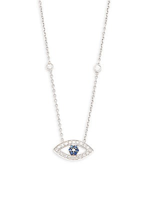 Click here for Evil Eye Blue Sapphire  Diamond and 14K White Gold... prices