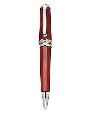 Piccola Platinum Plated Brass & Red Enamel Ballpoint Pen