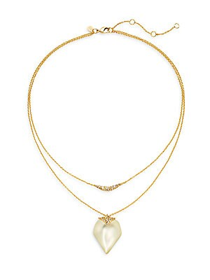 Lucite & Swarovski Crystal Double Layered Pendant Necklace