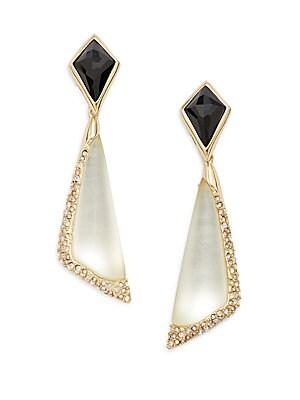 Lucite, Black Quartz & Swarovski Crystal Drop Earrings