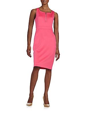 Zip-Detail Sheath Dress