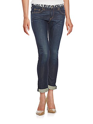 Printed Waistband Boyfriend Jeans