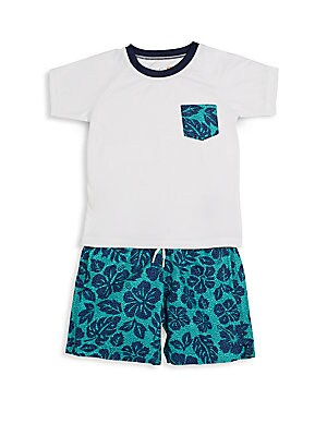 Toddler's & Little Boy's Tropical-Print Swim Set
