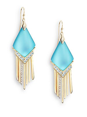 Lucite & Crystal Spear Fringe Drop Earrings/Turquoise